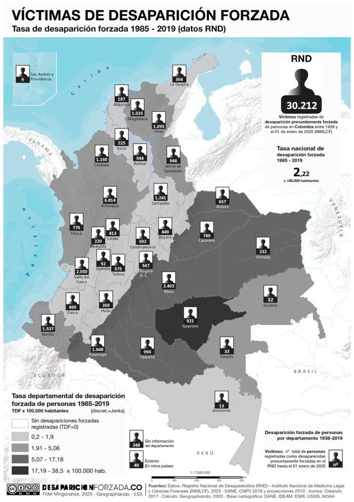 Mapa desaparicion forzada Colombia datos RND enero 2020