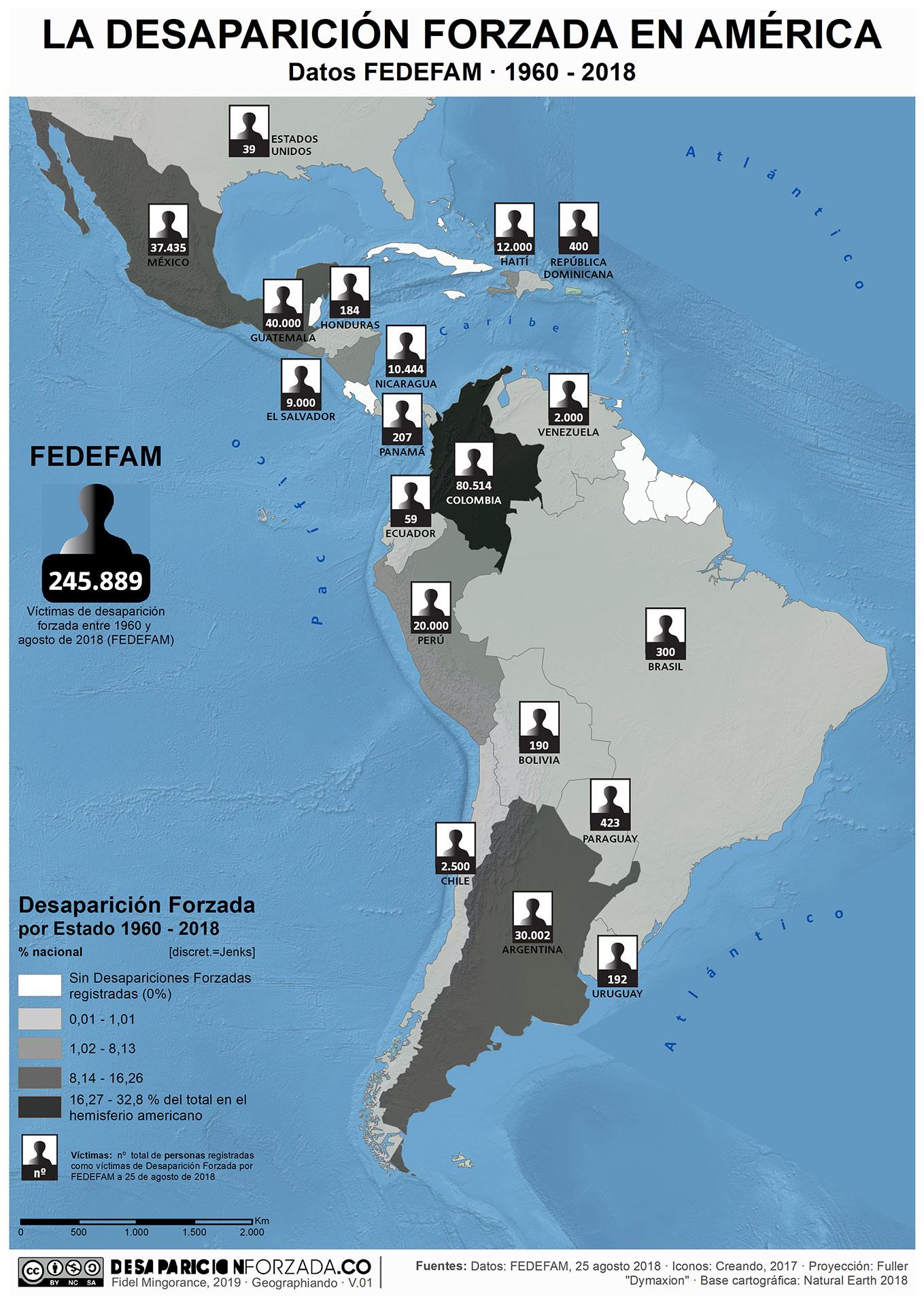 mapa desaparicion forzada america datos fedefam agosto 2018
