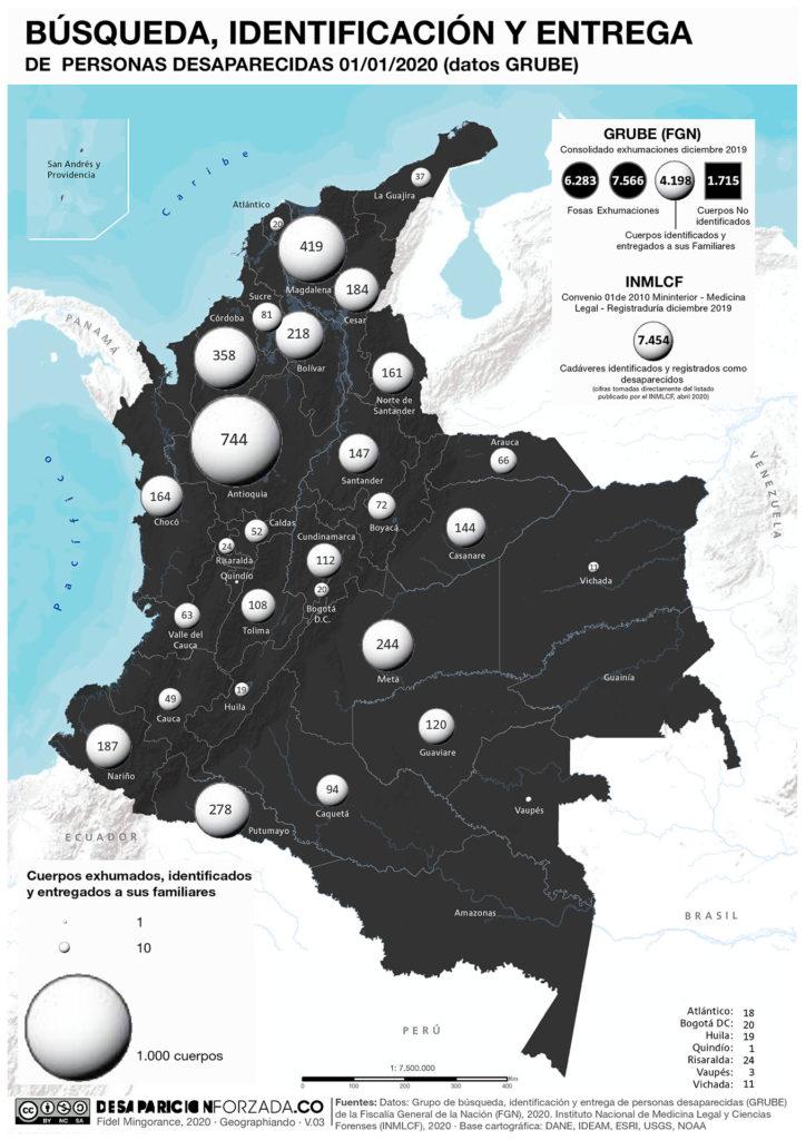 mapa busqueda identificacion y entrega personas desaparecidas datos GRUBE diciembre 2019