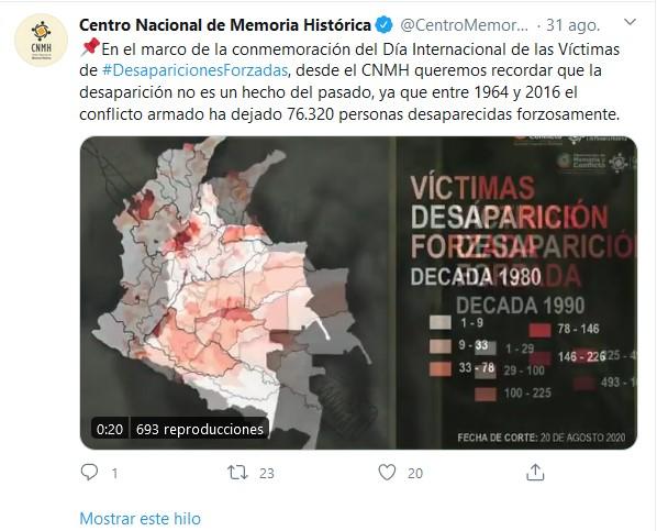Captura del Twitter del CNMH 2