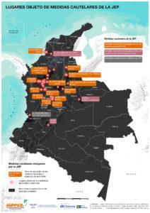 Lugares con medidas cautelares JEP, 2020