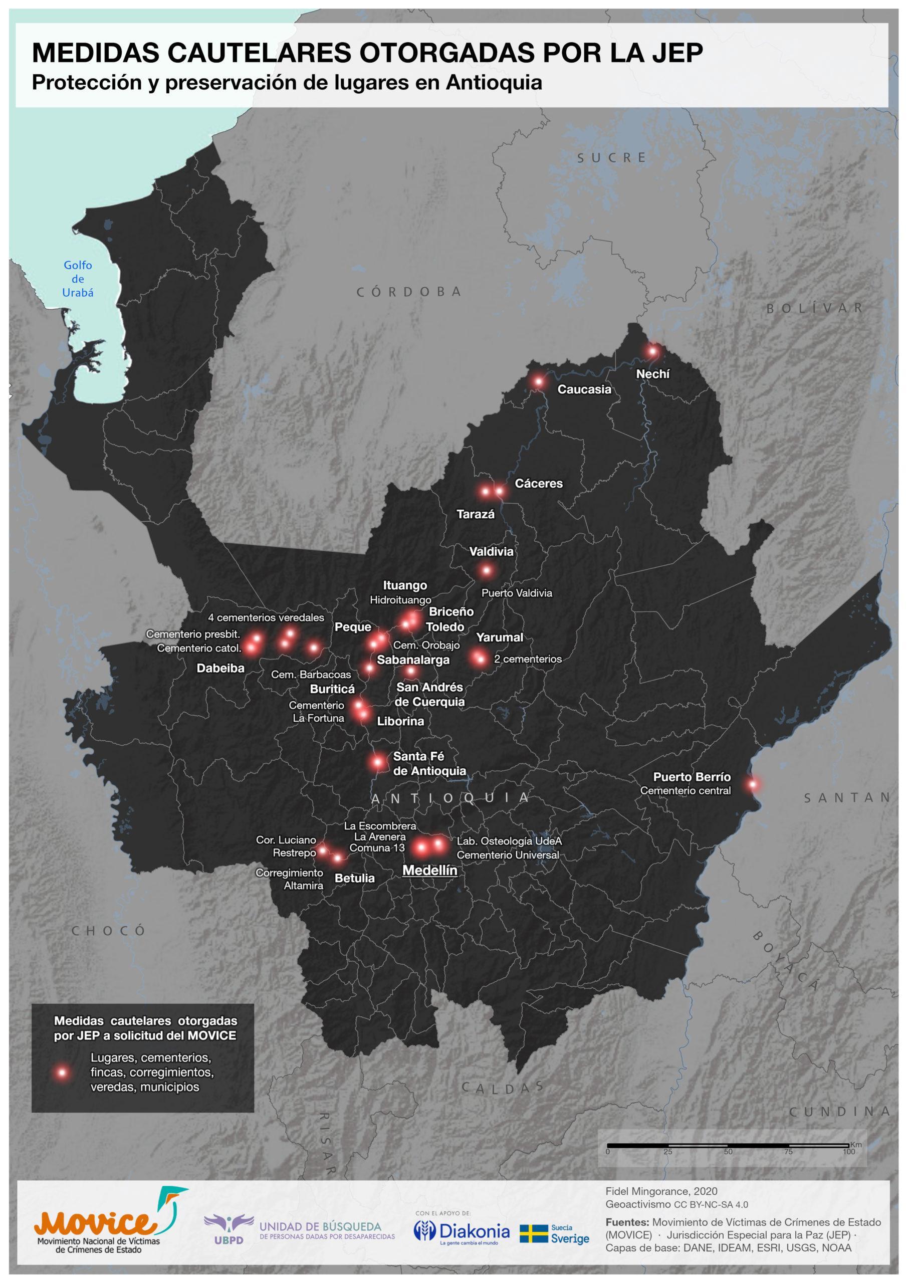 Lugares medidas cautelares JEP Antioquia